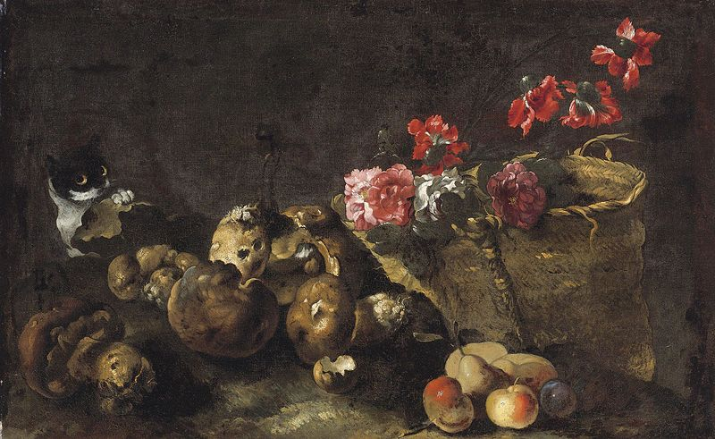 Still Life with Mushrooms Fruit a Basket of Flowers and a Cat