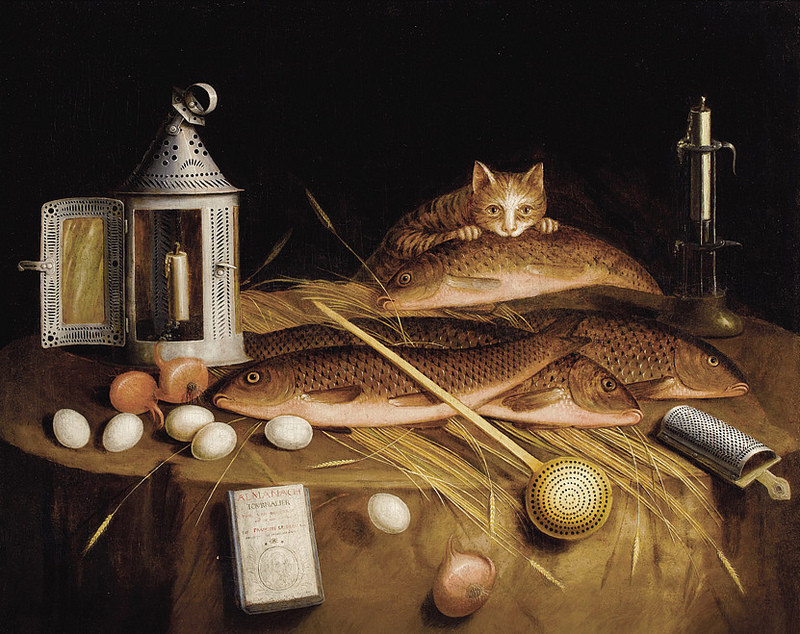 circle of sebastien stoskopff kitchen still life with fish and cat 1650